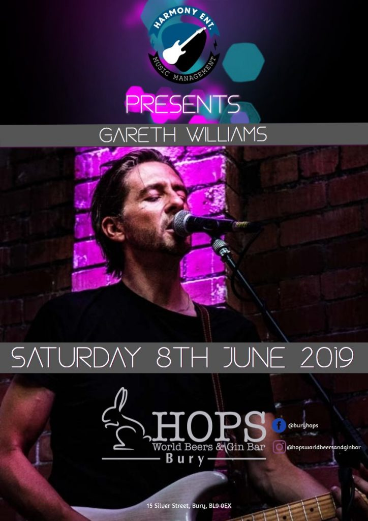 Bars In Bury | Live Music | Saturday 8th June | The Hops | Bury Town Centre | Silver Street